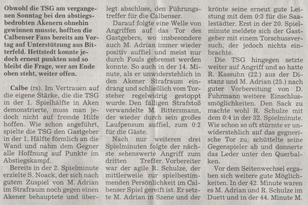 Volksstimme-Artikel vom 14. Mai 2002 (Teil 1).