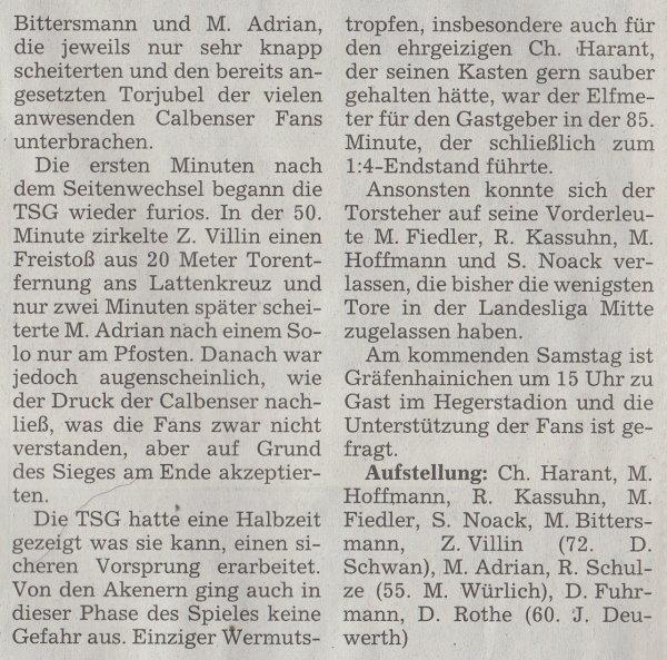 Volksstimme-Artikel vom 14. Mai 2002 (Teil 2).