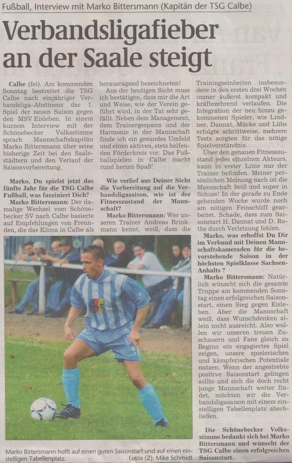 Volksstimme-Artikel vom 01. August 2002.
