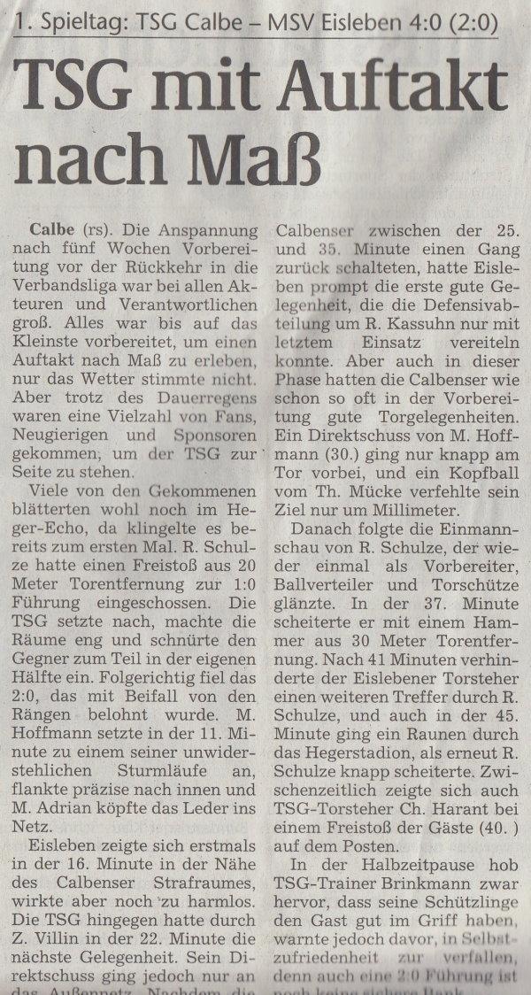 Volksstimme-Artikel vom 02. August 2002 (Teil 1).