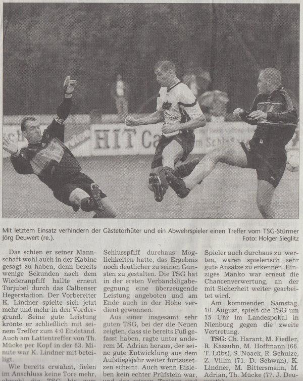 Volksstimme-Artikel vom 02. August 2002 (Teil 2).