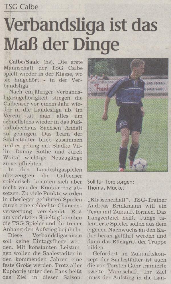 """Sonderausgabe der Volksstimme """"Anstoß"""" vom 06. August 2002 (Teil 1)."""