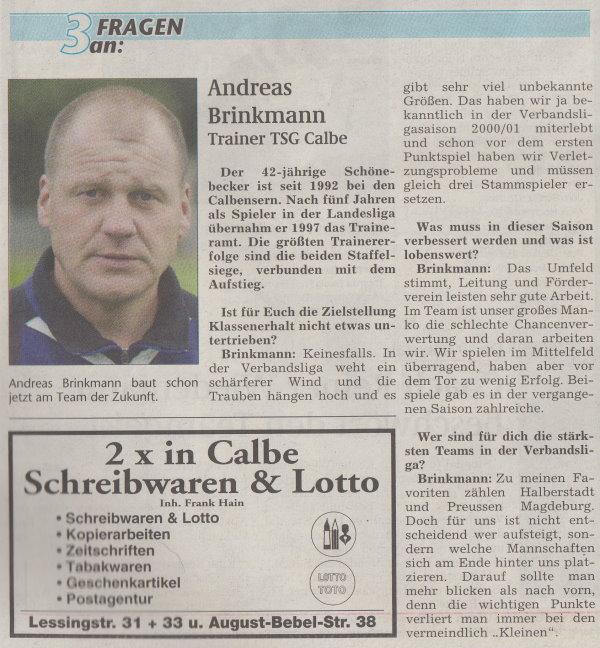 """Sonderausgabe der Volksstimme """"Anstoß"""" vom 06. August 2002 (3 Fragen an Andreas Brinkmann)."""