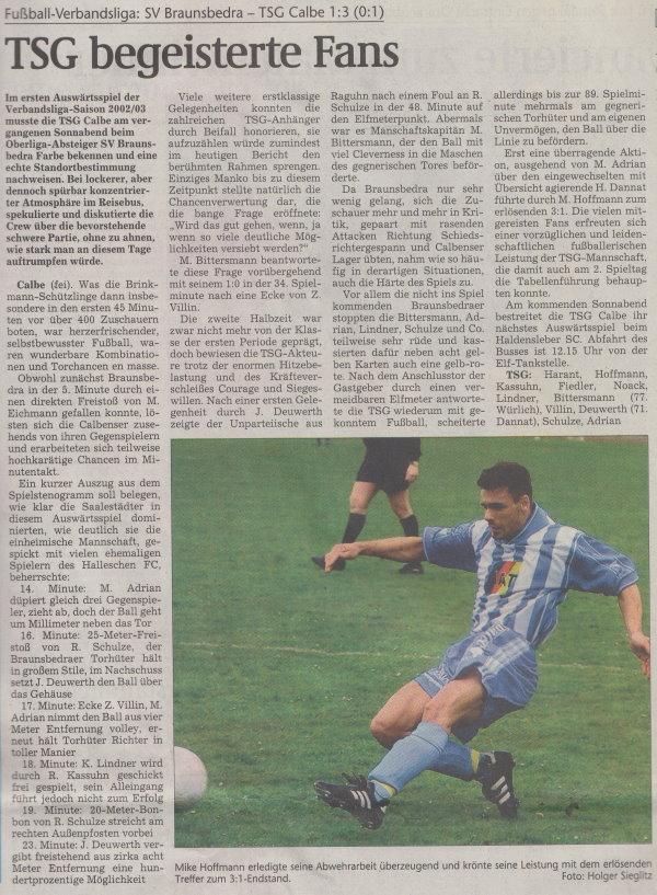 Volksstimme-Artikel vom 02. September 2002.