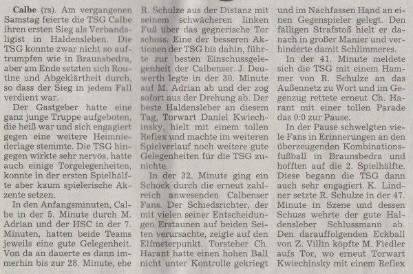 Volksstimme-Artikel vom 09. September 2002 (Teil 1).