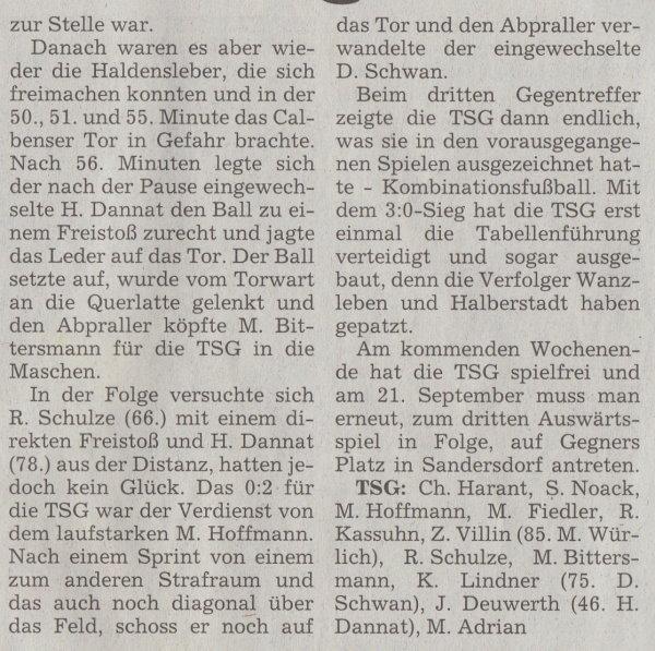 Volksstimme-Artikel vom 09. September 2002 (Teil 2).