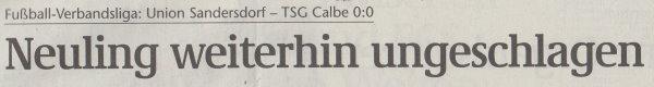 Volksstimme-Artikel vom 23. September 2002 (Überschrift).