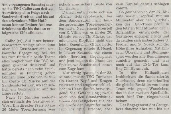 Volksstimme-Artikel vom 23. September 2002 (Teil 1).