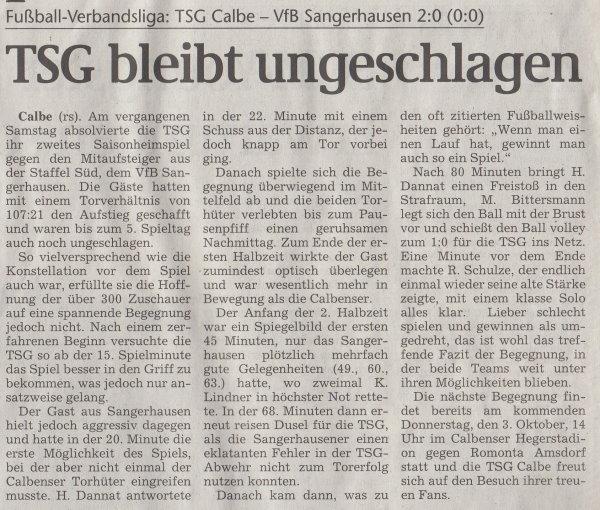 Volksstimme-Artikel vom 30. September 2002 (Teil 1).