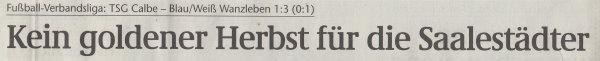 Volksstimme-Artikel vom 14. Oktober 2002 (Überschrift).