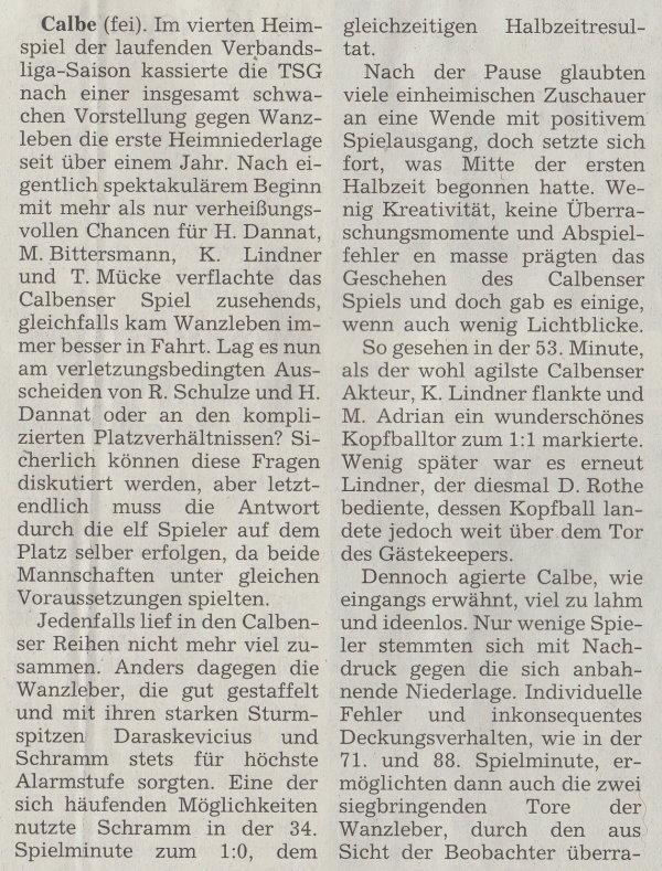Volksstimme-Artikel vom 14. Oktober 2002 (Teil 1).