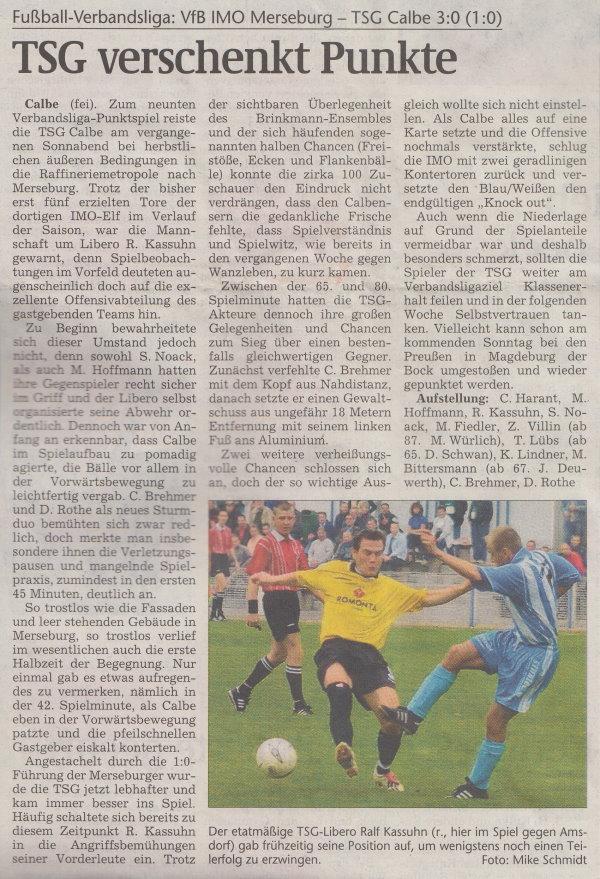 Volksstimme-Artikel vom 21. Oktober 2002.