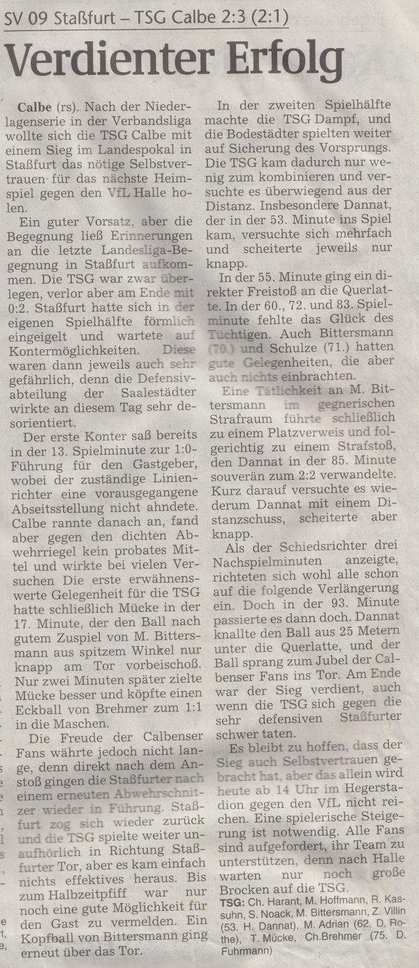 Volksstimme-Artikel zum Pokalspiel vom 02. November 2002.