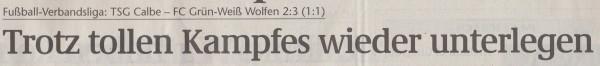 Volksstimme-Artikel vom 19. November 2002 (Überschrift).