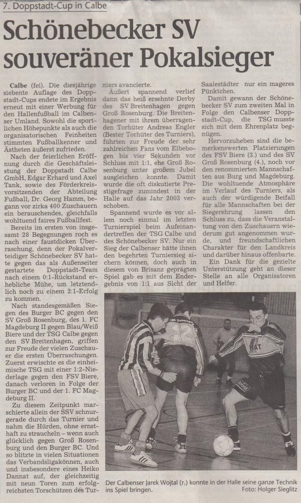 Volksstimme-Artikel vom 14. Januar 2002.