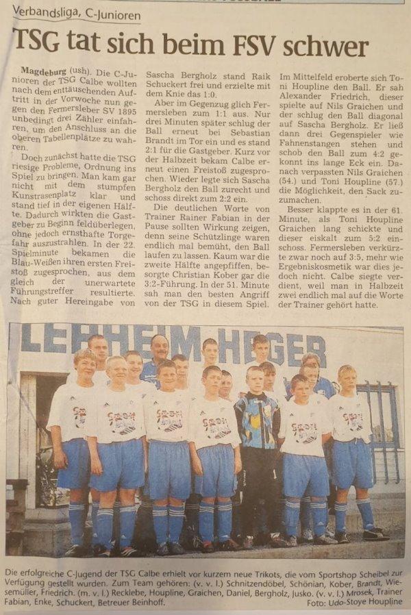 Zeitungsbericht zum Verbandsliga-Heimspiel gegen