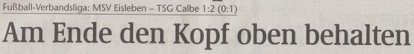 Volksstimme-Artikel vom 04. Februar 2003 (Überschrift).