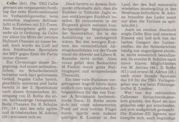 Volksstimme-Artikel vom 04. Februar 2003 (Teil 1).