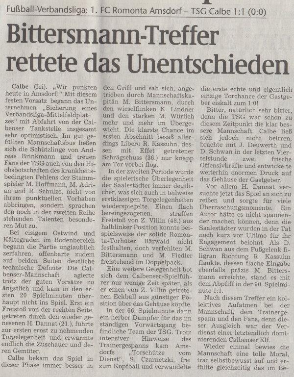 Volksstimme-Artikel vom 17. Februar 2003 (Teil 1).