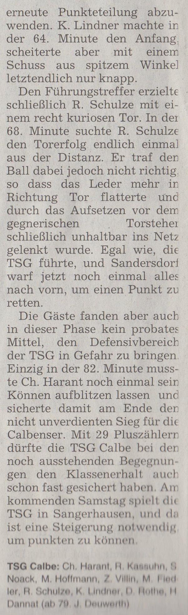 Volksstimme-Artikel vom 11. März 2003 (Teil 3).
