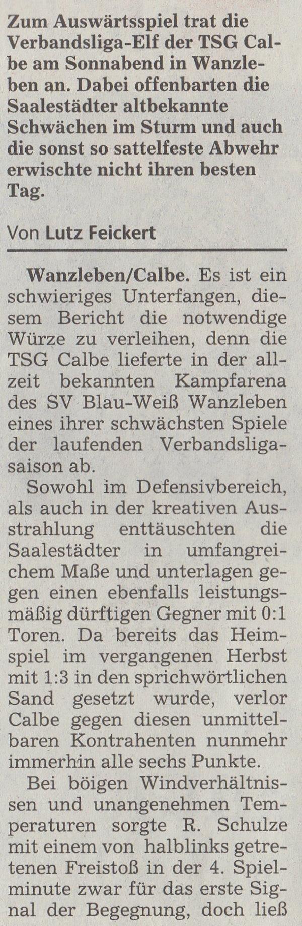 Volksstimme-Artikel vom 07. April 2003 (Teil 1).