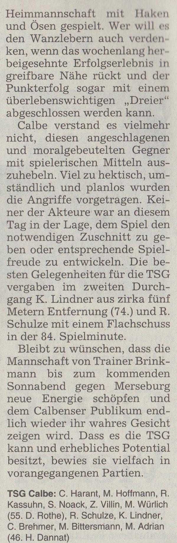 Volksstimme-Artikel vom 07. April 2003 (Teil 3).