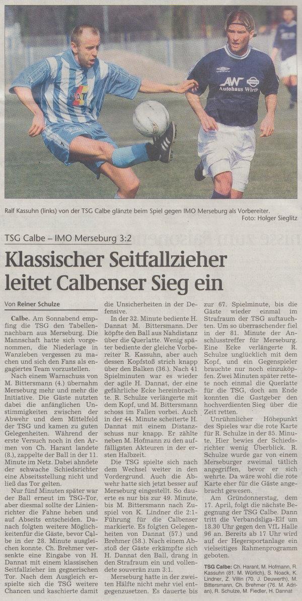 Volksstimme-Artikel vom 14. April 2003.