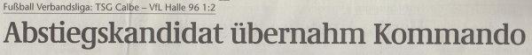 Volksstimme-Artikel vom 22. April 2003 (Überschrift).