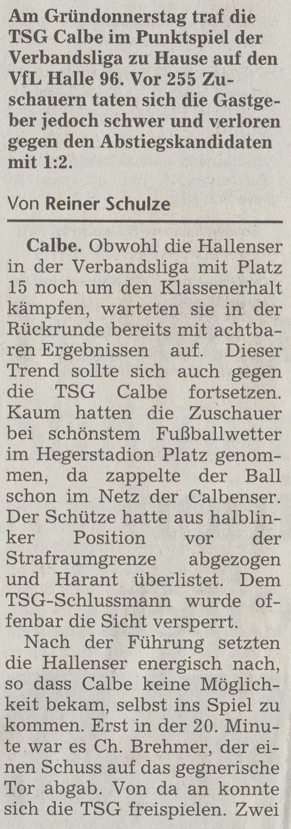 Volksstimme-Artikel vom 22. April 2003 (Teil 1).