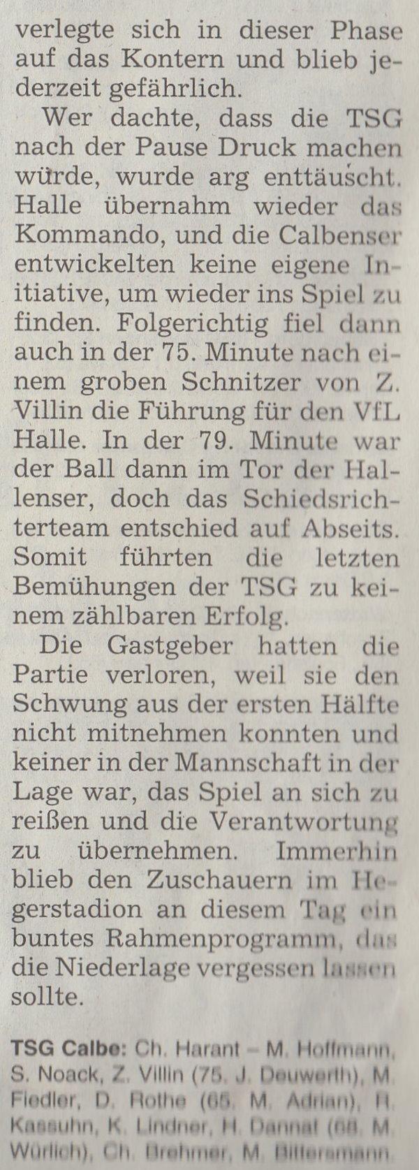 Volksstimme-Artikel vom 22. April 2003 (Teil 3).