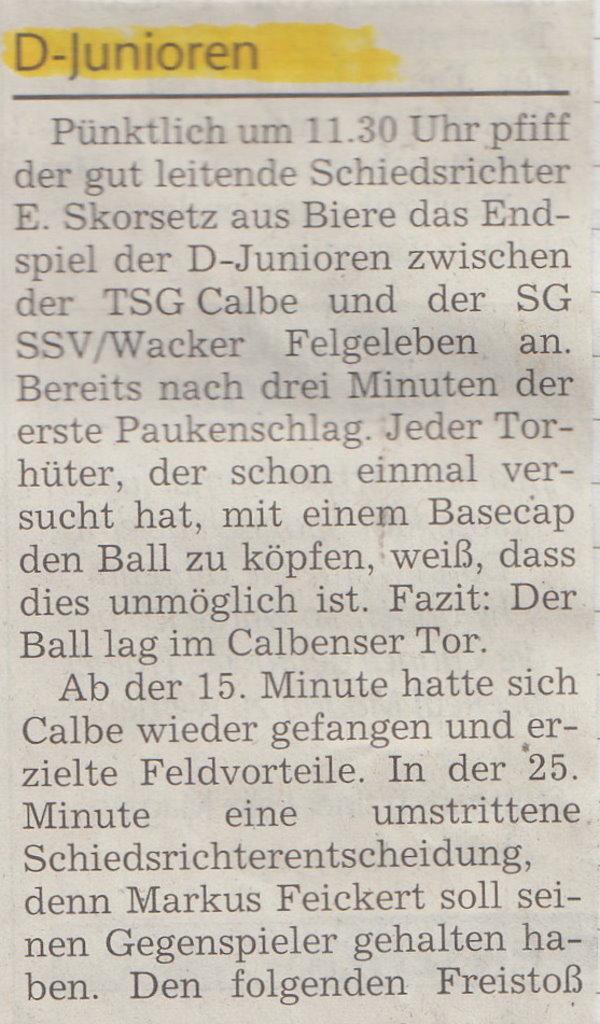 Spielbericht vom Pokalendspiel (Teil 1).