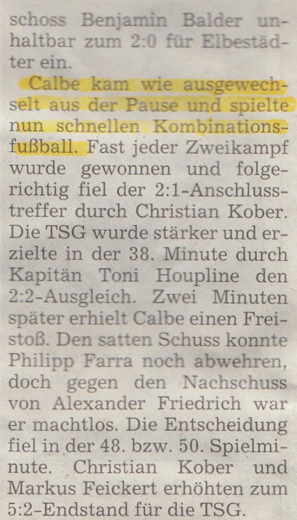Spielbericht vom Pokalendspiel (Teil 2).