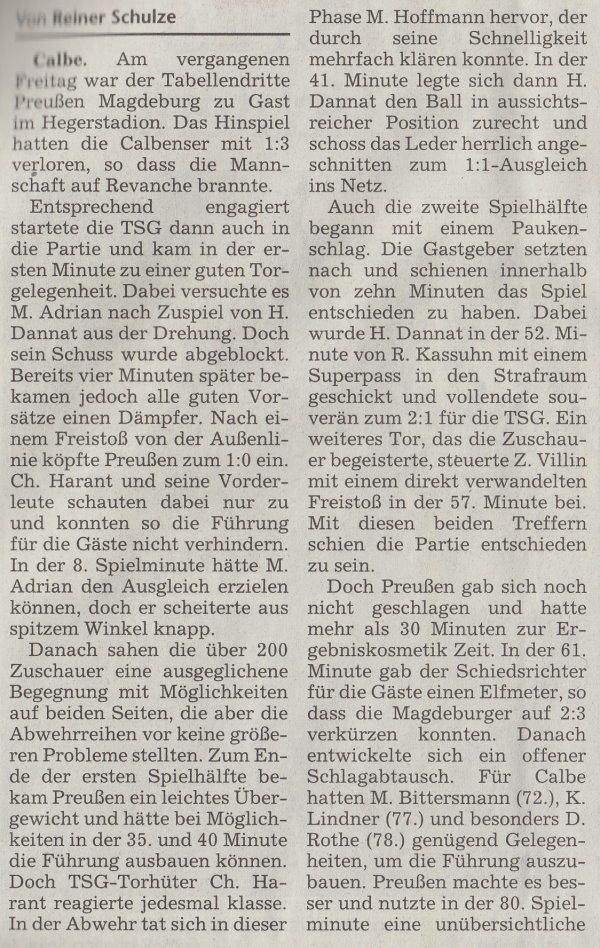 Volksstimme-Artikel vom 05. Mai 2003 (Teil 1).