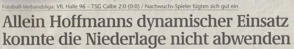 Volksstimme-Artikel vom12. Mai 2003 (Überschrift).