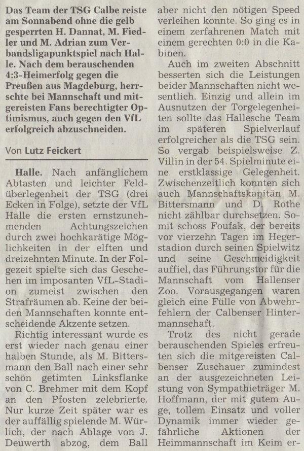 Volksstimme-Artikel vom 12. Mai 2003 (Teil 1).