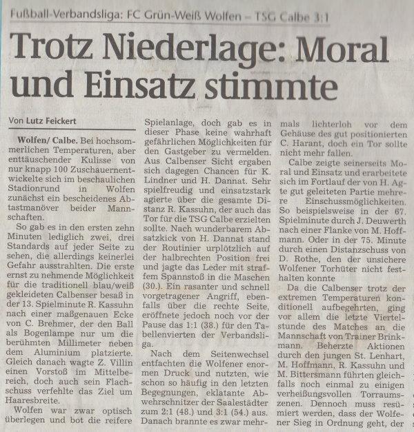 Volksstimme-Artikel vom 26. Mai 2003 (Teil 1).