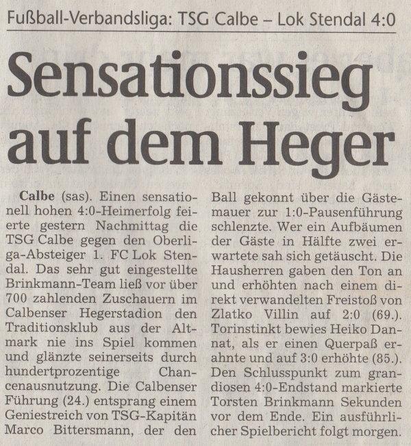 Volksstimme-Artikel vom 13. August 2003 (Teil 1).