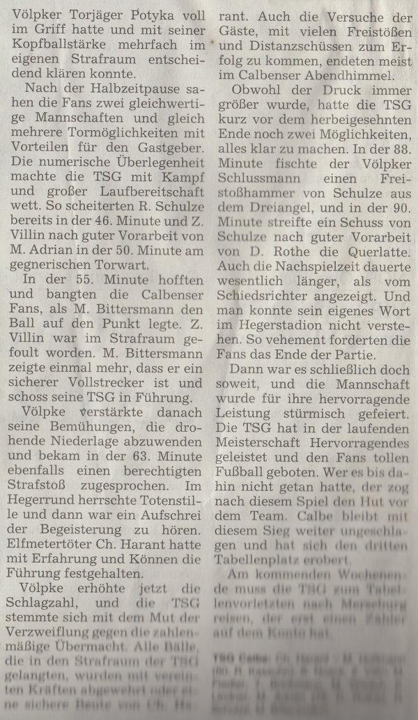 Volksstimme-Artikel vom 08. September 2003 (Teil 2).