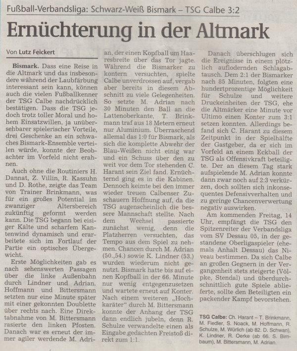Volksstimme-Artikel vom 27. Oktober 2003.