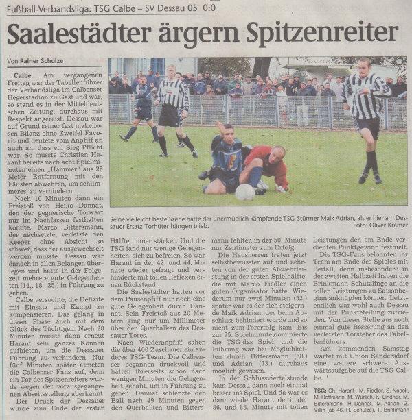 Volksstimme-Artikel vom 03. November 2003.