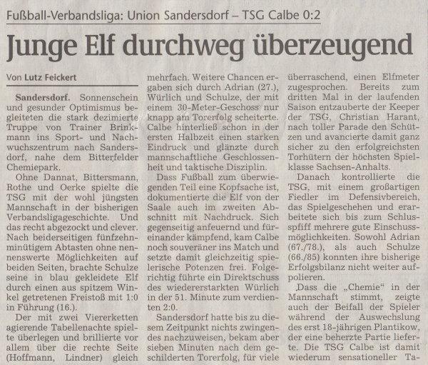Volksstimme-Artikel vom 10. November 2003 (Teil 1).