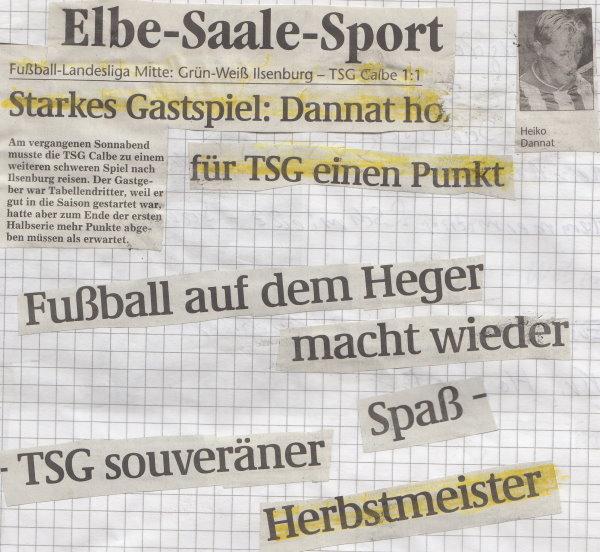 Volksstimme-Artikel zum 14. Spieltag.