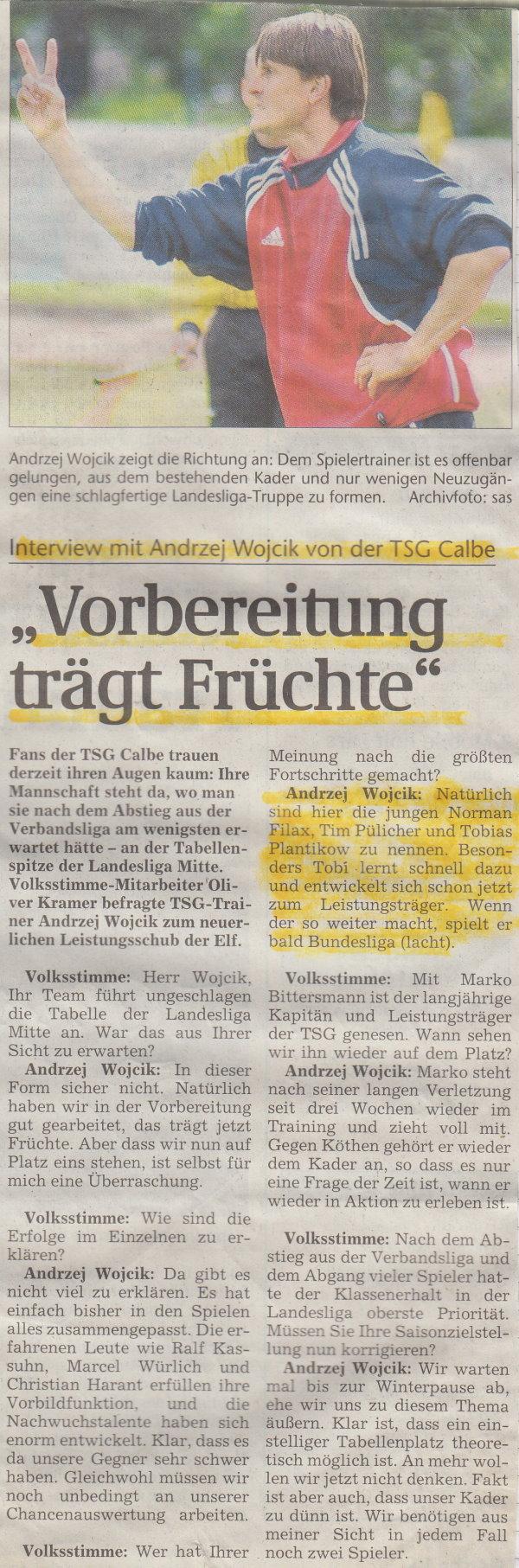 Volksstimme-Interview mit TSG-Trainer Andrzej Wojcik.