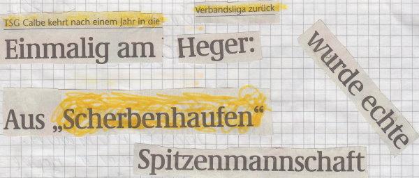 Volksstimme-Artikel zur Aufstiegssaison 2004/2005 (Überschrift).