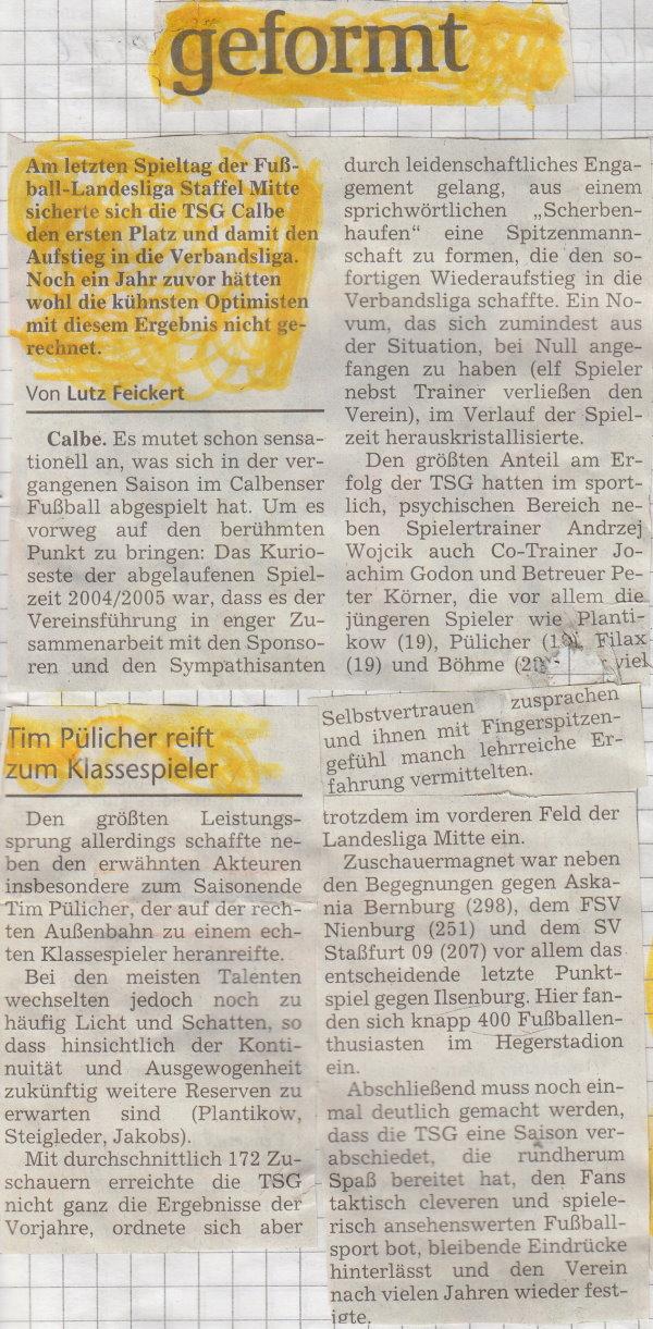 Volksstimme-Artikel zur Aufstiegssaison 2004/2005 (Teil 1).