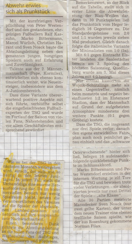 Volksstimme-Artikel zur Aufstiegssaison 2004/2005 (Teil 2).