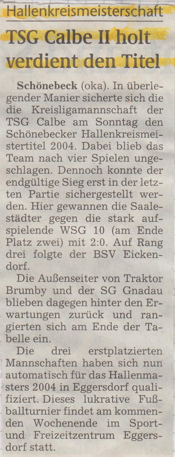 Spielbericht von den Hallenkreismeisterschaften.