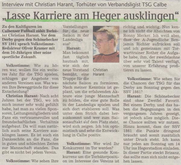 Interview mit Christian Harant vor dem 12. Spieltag.
