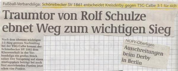 Volksstimme-Schlagzeile zum Derby am 25. Spieltag.