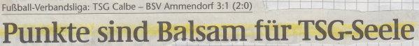 Volksstimme-Schlagzeile vom 26. Spieltag.